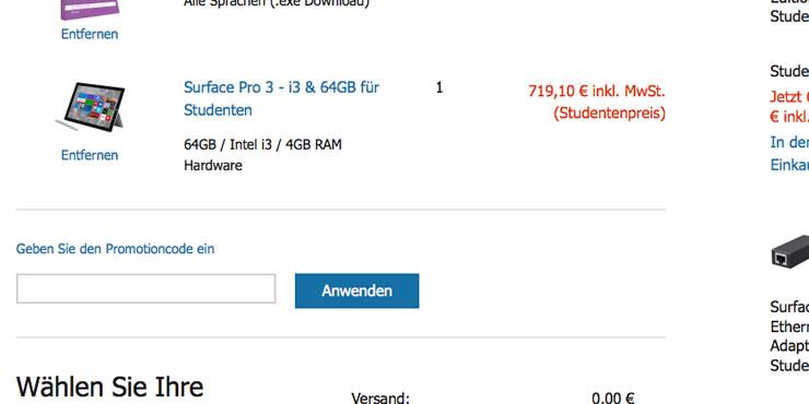 Im Einkaufswagen können Sie den Microsoft Store Promotioncode eintragen.